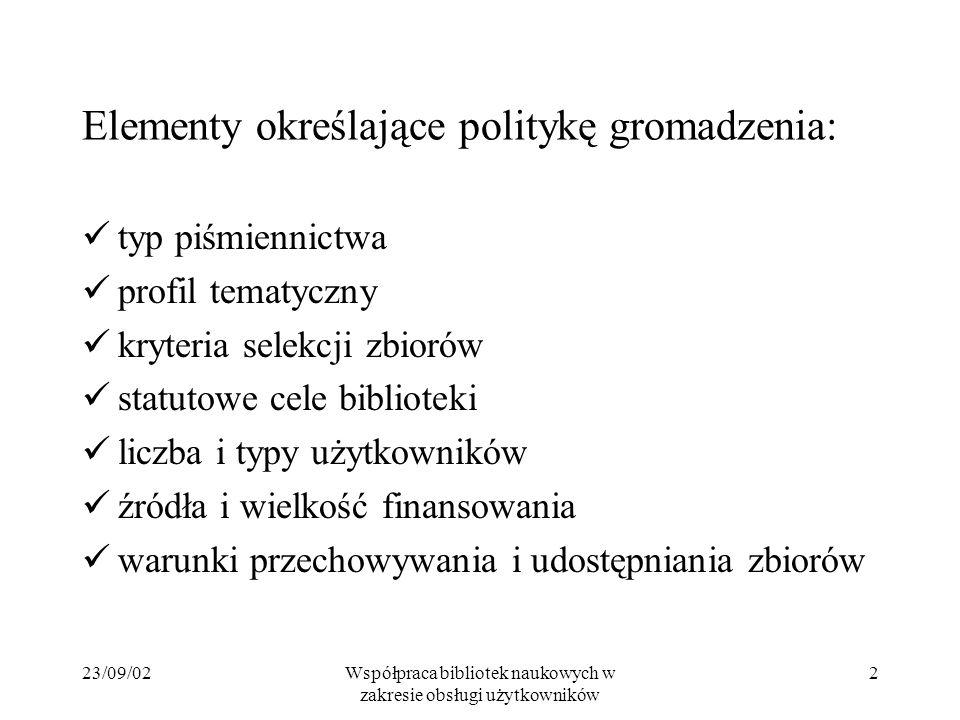 23/09/02Współpraca bibliotek naukowych w zakresie obsługi użytkowników 2 Elementy określające politykę gromadzenia: typ piśmiennictwa profil tematyczn