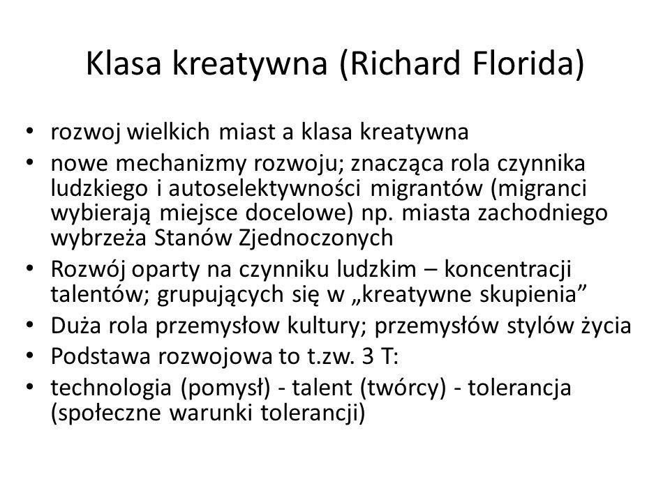 Klasa kreatywna (Richard Florida) rozwoj wielkich miast a klasa kreatywna nowe mechanizmy rozwoju; znacząca rola czynnika ludzkiego i autoselektywnośc