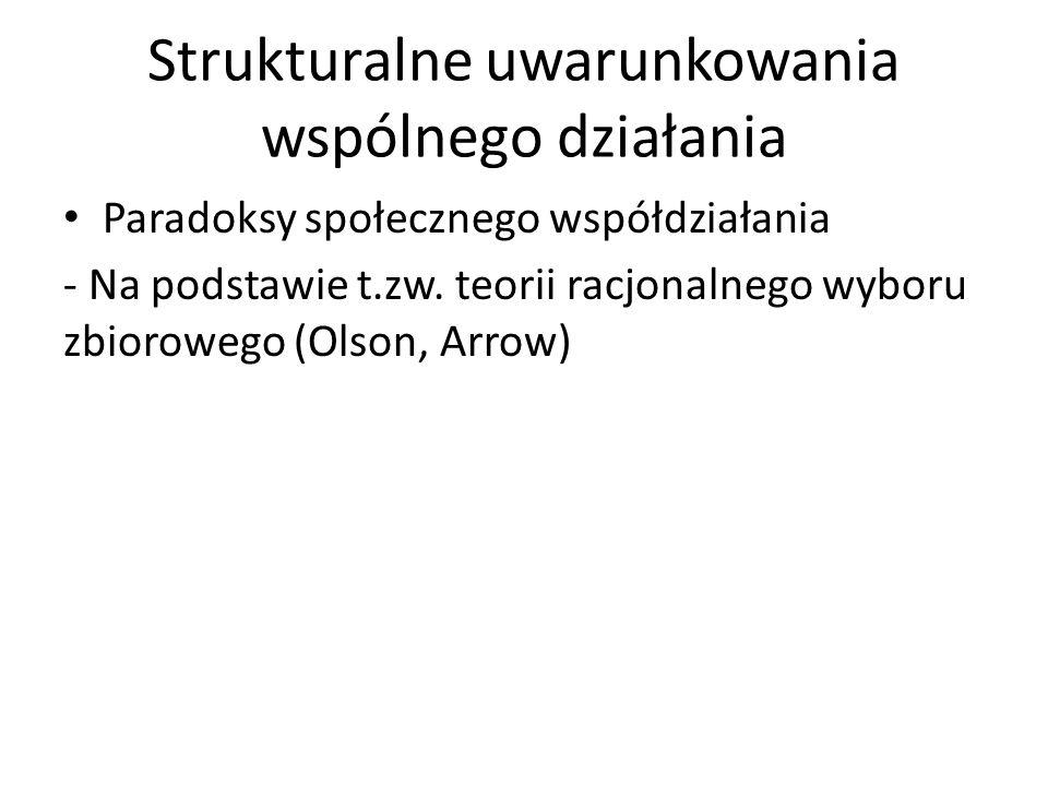 Strukturalne uwarunkowania wspólnego działania Paradoksy społecznego współdziałania - Na podstawie t.zw. teorii racjonalnego wyboru zbiorowego (Olson,