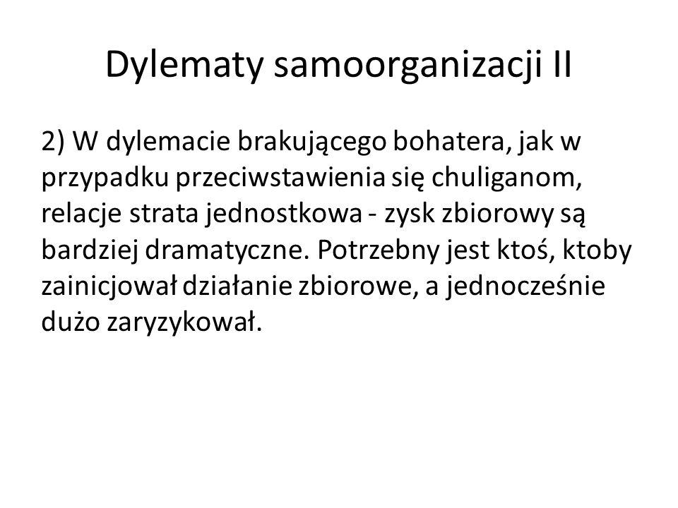 Dylematy samoorganizacji II 2) W dylemacie brakującego bohatera, jak w przypadku przeciwstawienia się chuliganom, relacje strata jednostkowa - zysk zb