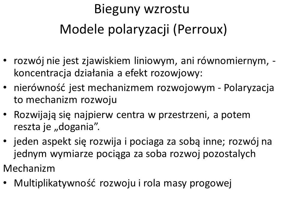 Bieguny wzrostu Modele polaryzacji (Perroux) rozwój nie jest zjawiskiem liniowym, ani równomiernym, - koncentracja działania a efekt rozowjowy: nierów