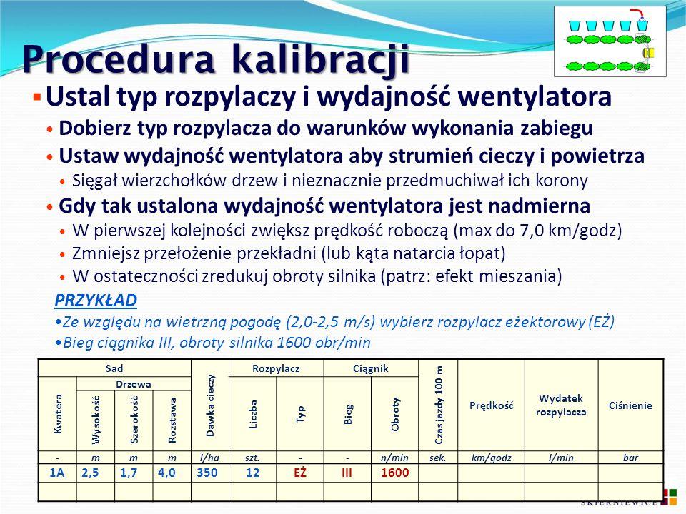 Procedura kalibracji  Ustal typ rozpylaczy i wydajność wentylatora Dobierz typ rozpylacza do warunków wykonania zabiegu Ustaw wydajność wentylatora a