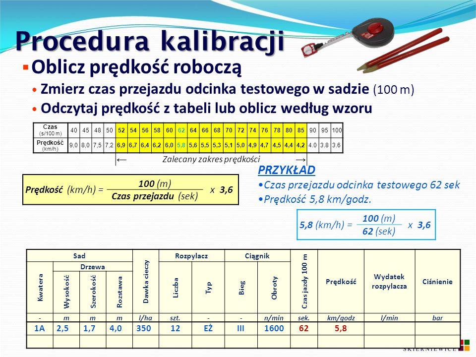 Procedura kalibracji  Oblicz prędkość roboczą Zmierz czas przejazdu odcinka testowego w sadzie (100 m) Odczytaj prędkość z tabeli lub oblicz według w