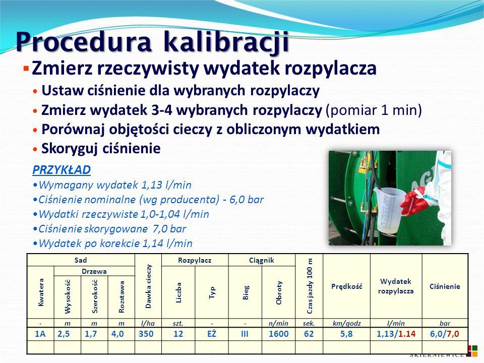 Procedura kalibracji  Zmierz rzeczywisty wydatek rozpylacza Ustaw ciśnienie dla wybranych rozpylaczy Zmierz wydatek 3-4 wybranych rozpylaczy (pomiar
