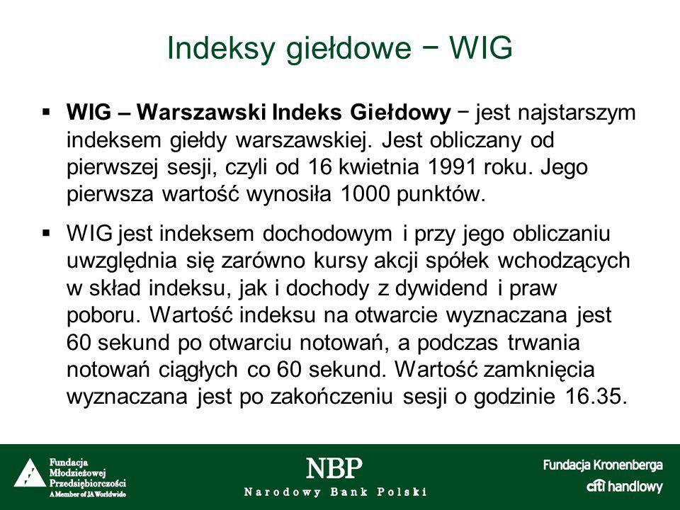 Indeksy giełdowe − WIG  WIG – Warszawski Indeks Giełdowy − jest najstarszym indeksem giełdy warszawskiej. Jest obliczany od pierwszej sesji, czyli od