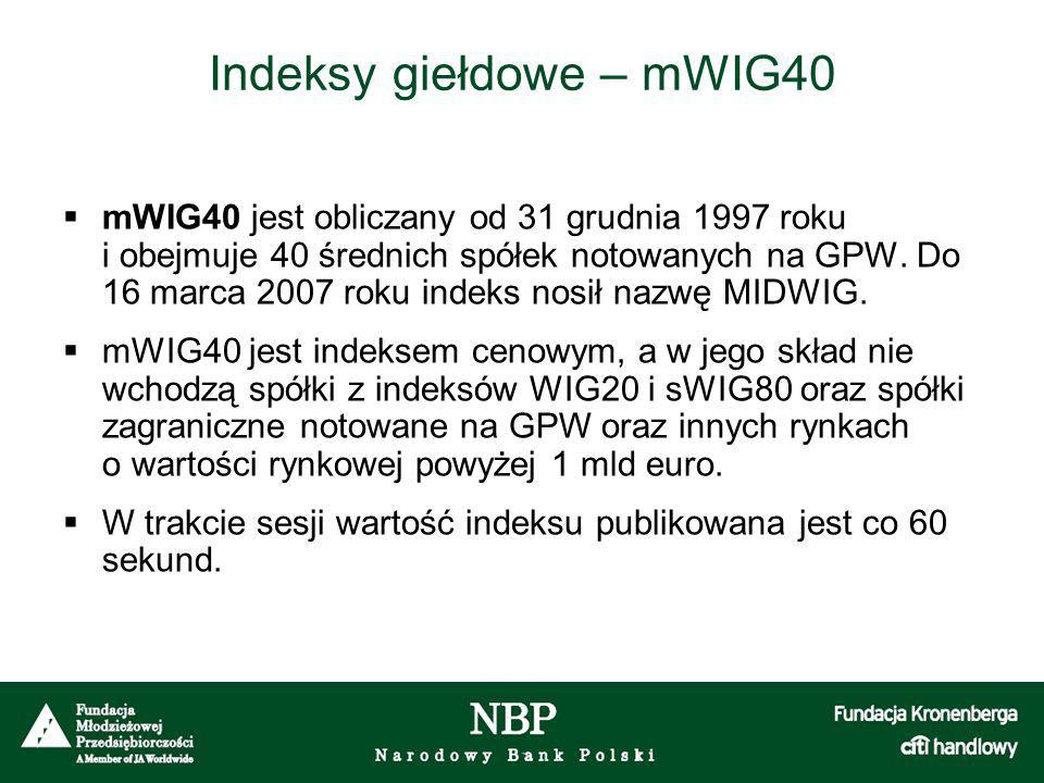 Indeksy giełdowe – mWIG40  mWIG40 jest obliczany od 31 grudnia 1997 roku i obejmuje 40 średnich spółek notowanych na GPW. Do 16 marca 2007 roku indek