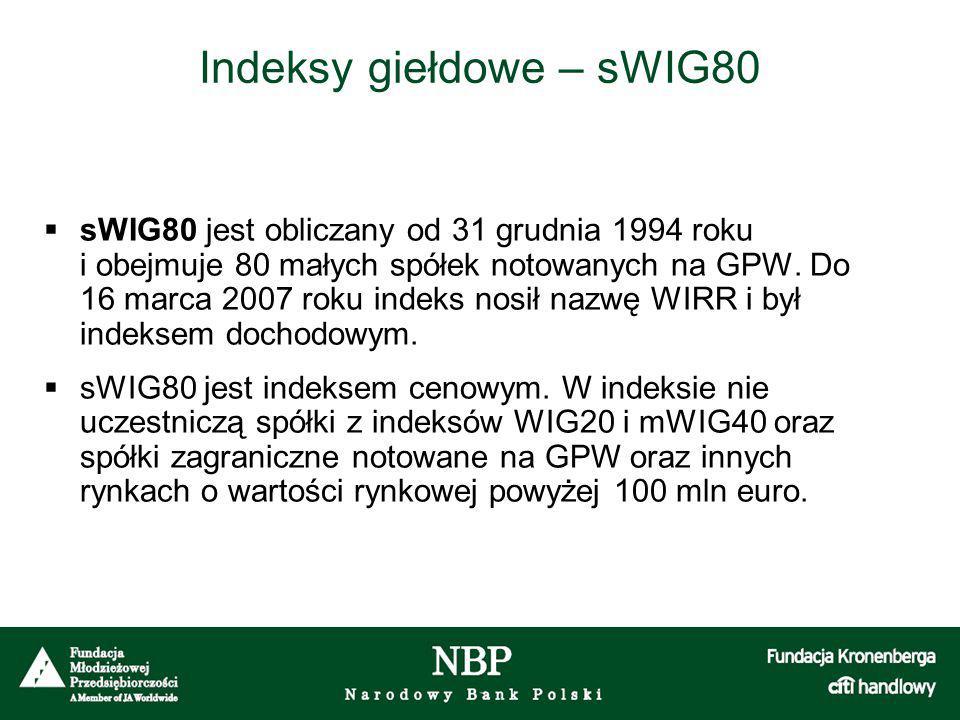 Indeksy giełdowe – sWIG80  sWIG80 jest obliczany od 31 grudnia 1994 roku i obejmuje 80 małych spółek notowanych na GPW. Do 16 marca 2007 roku indeks