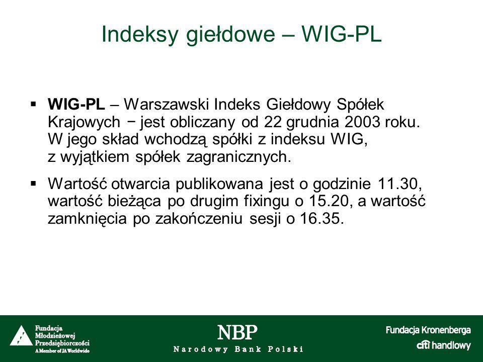 Indeksy giełdowe – WIG-PL  WIG-PL – Warszawski Indeks Giełdowy Spółek Krajowych − jest obliczany od 22 grudnia 2003 roku. W jego skład wchodzą spółki