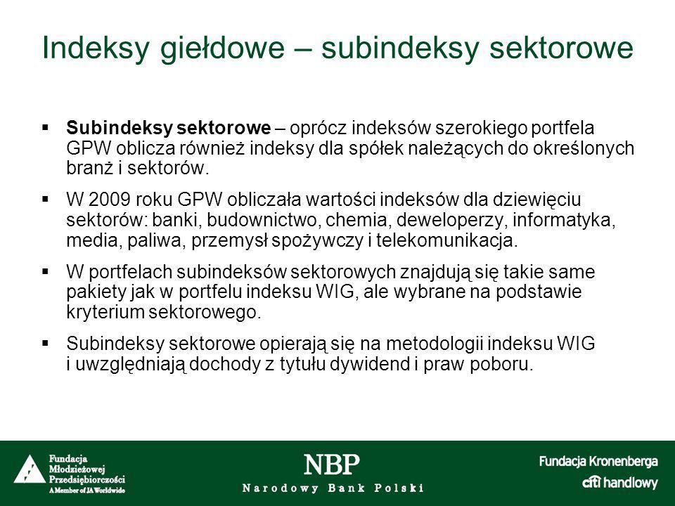 Indeksy giełdowe – subindeksy sektorowe  Subindeksy sektorowe – oprócz indeksów szerokiego portfela GPW oblicza również indeksy dla spółek należących do określonych branż i sektorów.