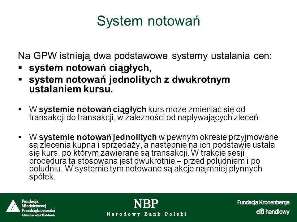 System notowań Na GPW istnieją dwa podstawowe systemy ustalania cen:  system notowań ciągłych,  system notowań jednolitych z dwukrotnym ustalaniem kursu.