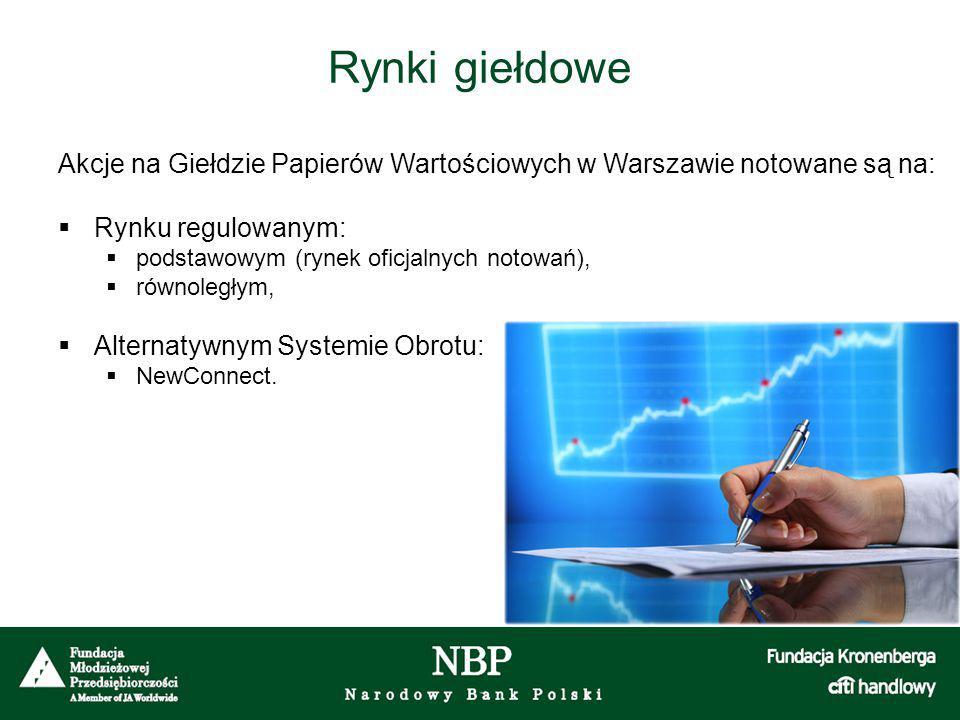 Rynki giełdowe Akcje na Giełdzie Papierów Wartościowych w Warszawie notowane są na:  Rynku regulowanym:  podstawowym (rynek oficjalnych notowań),  równoległym,  Alternatywnym Systemie Obrotu:  NewConnect.