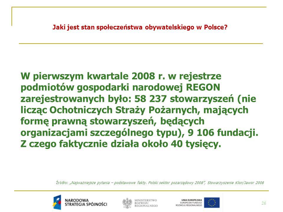 26 Jaki jest stan społeczeństwa obywatelskiego w Polsce? W pierwszym kwartale 2008 r. w rejestrze podmiotów gospodarki narodowej REGON zarejestrowanyc
