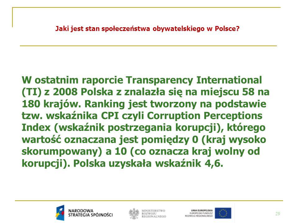 29 Jaki jest stan społeczeństwa obywatelskiego w Polsce? W ostatnim raporcie Transparency International (TI) z 2008 Polska z znalazła się na miejscu 5