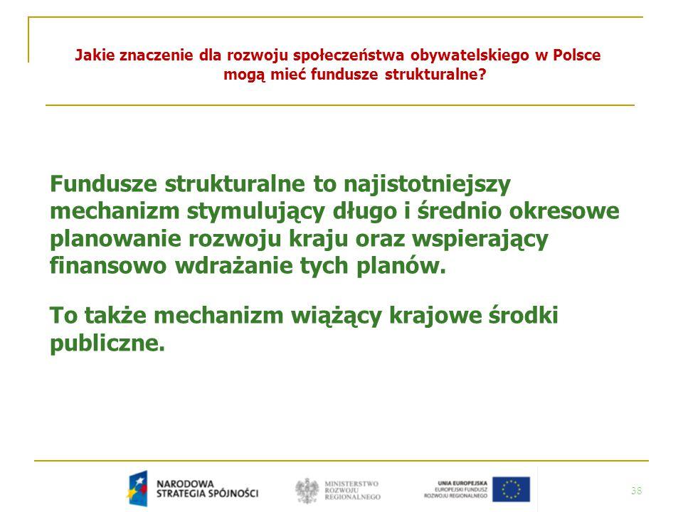38 Jakie znaczenie dla rozwoju społeczeństwa obywatelskiego w Polsce mogą mieć fundusze strukturalne? Fundusze strukturalne to najistotniejszy mechani