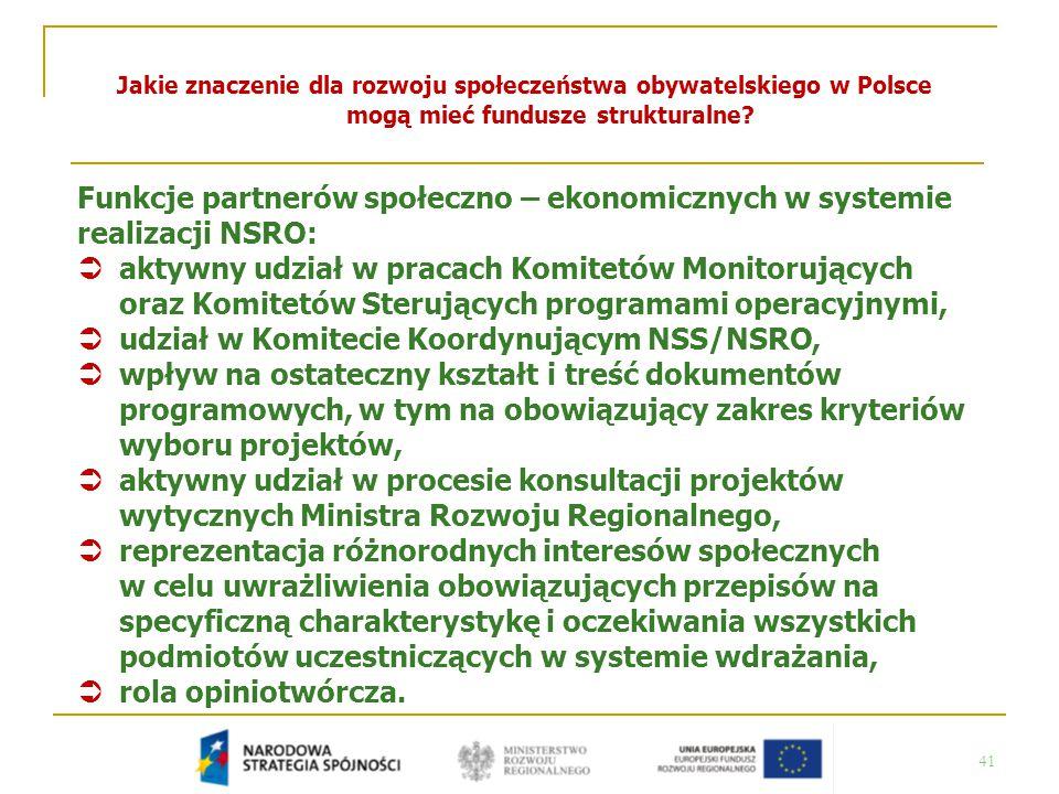 41 Jakie znaczenie dla rozwoju społeczeństwa obywatelskiego w Polsce mogą mieć fundusze strukturalne? Funkcje partnerów społeczno – ekonomicznych w sy