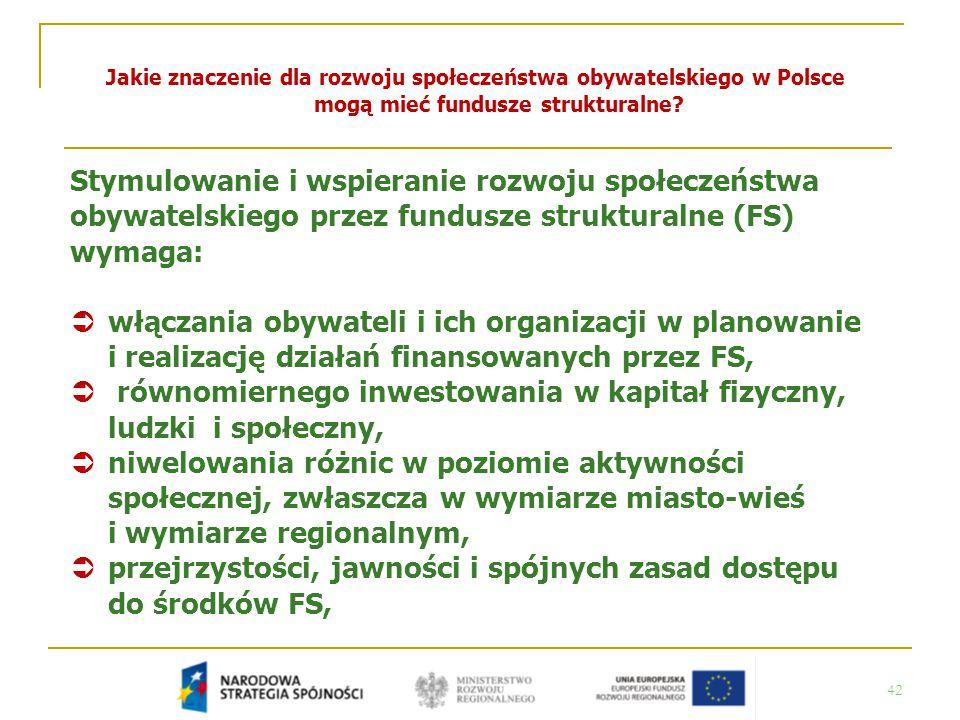 42 Jakie znaczenie dla rozwoju społeczeństwa obywatelskiego w Polsce mogą mieć fundusze strukturalne? Stymulowanie i wspieranie rozwoju społeczeństwa