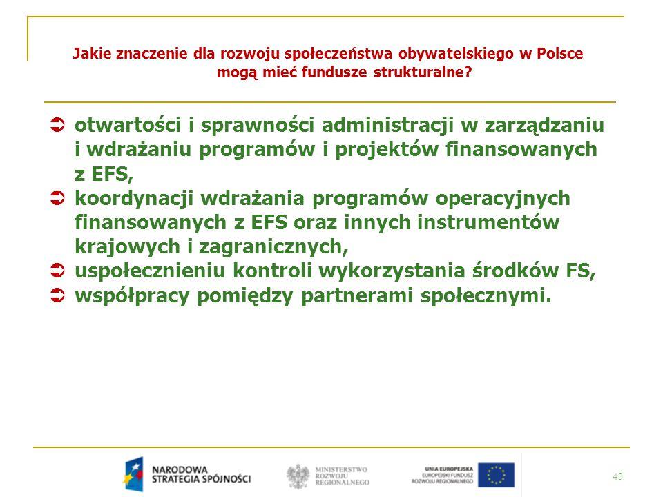 43 Jakie znaczenie dla rozwoju społeczeństwa obywatelskiego w Polsce mogą mieć fundusze strukturalne?  otwartości i sprawności administracji w zarząd