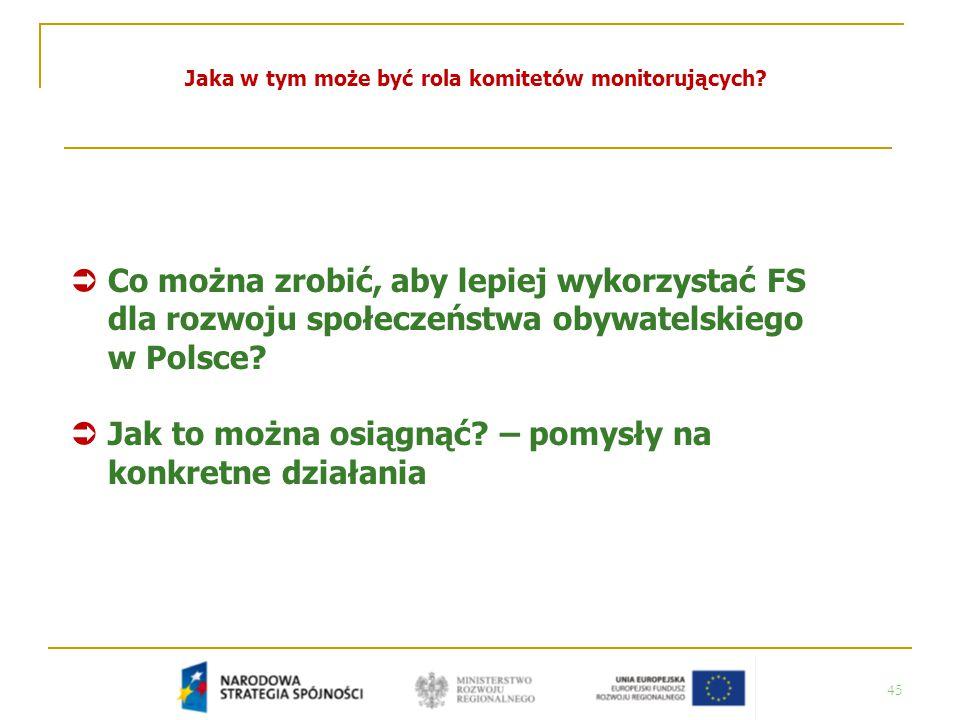 45 Jaka w tym może być rola komitetów monitorujących?  Co można zrobić, aby lepiej wykorzystać FS dla rozwoju społeczeństwa obywatelskiego w Polsce?