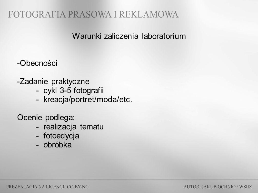 Warunki zaliczenia laboratorium -Obecności -Zadanie praktyczne -cykl 3-5 fotografii -kreacja/portret/moda/etc. Ocenie podlega: -realizacja tematu -fot