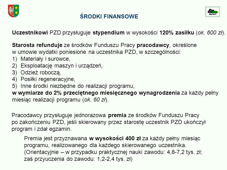 ŚRODKI FINANSOWE Uczestnikowi PZD przysługuje stypendium w wysokości 120% zasiłku (ok.