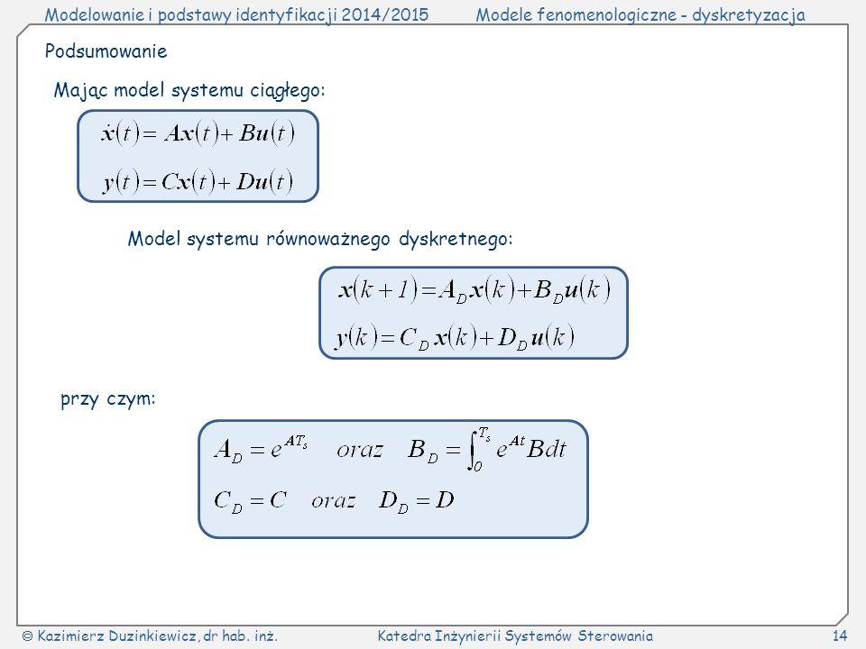 Modelowanie i podstawy identyfikacji 2014/2015Modele fenomenologiczne - dyskretyzacja  Kazimierz Duzinkiewicz, dr hab.