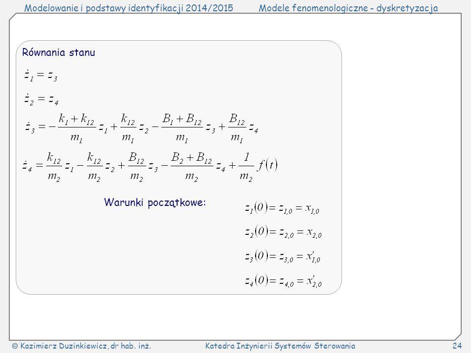 Modelowanie i podstawy identyfikacji 2014/2015Modele fenomenologiczne - dyskretyzacja  Kazimierz Duzinkiewicz, dr hab. inż.Katedra Inżynierii Systemó