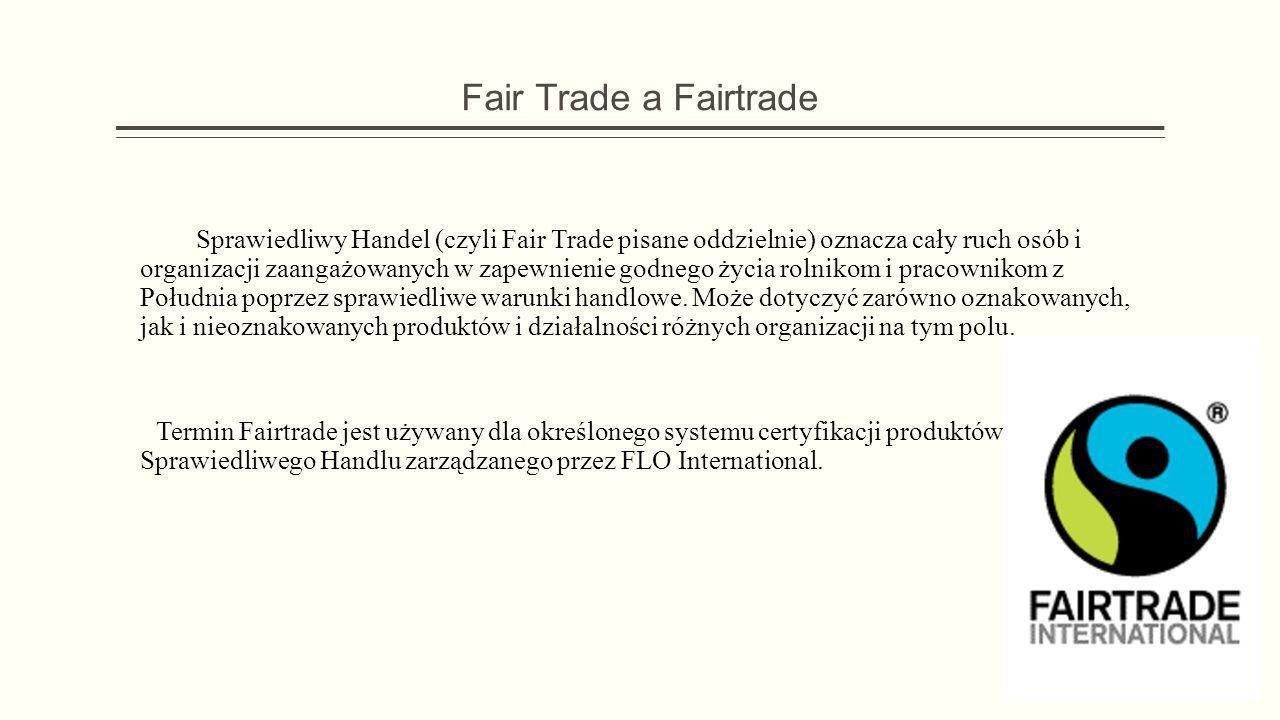Fair Trade a Fairtrade Sprawiedliwy Handel (czyli Fair Trade pisane oddzielnie) oznacza cały ruch osób i organizacji zaangażowanych w zapewnienie godn