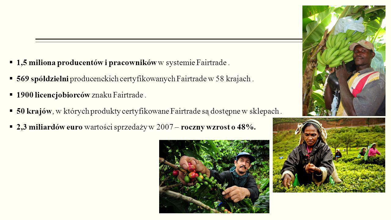  1,5 miliona producentów i pracowników w systemie Fairtrade.  569 spółdzielni producenckich certyfikowanych Fairtrade w 58 krajach.  1900 licencjob