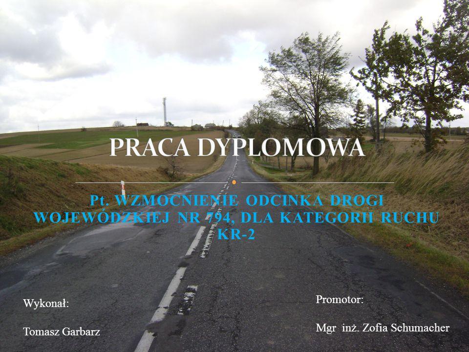 Celem pracy jest dokonanie wzmocnienia drogi wojewódzkiej nr 794 Koniecpol – Skała – Kraków na odcinku o długości 5,5 km.