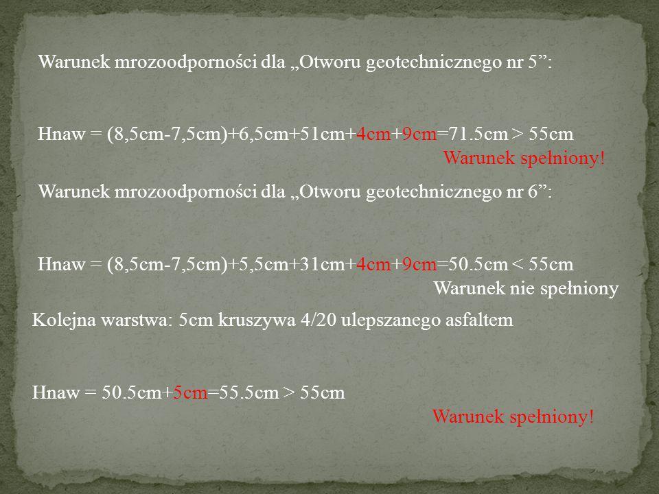 """Warunek mrozoodporności dla """"Otworu geotechnicznego nr 5"""": Hnaw = (8,5cm-7,5cm)+6,5cm+51cm+4cm+9cm=71.5cm > 55cm Warunek spełniony! Warunek mrozoodpor"""