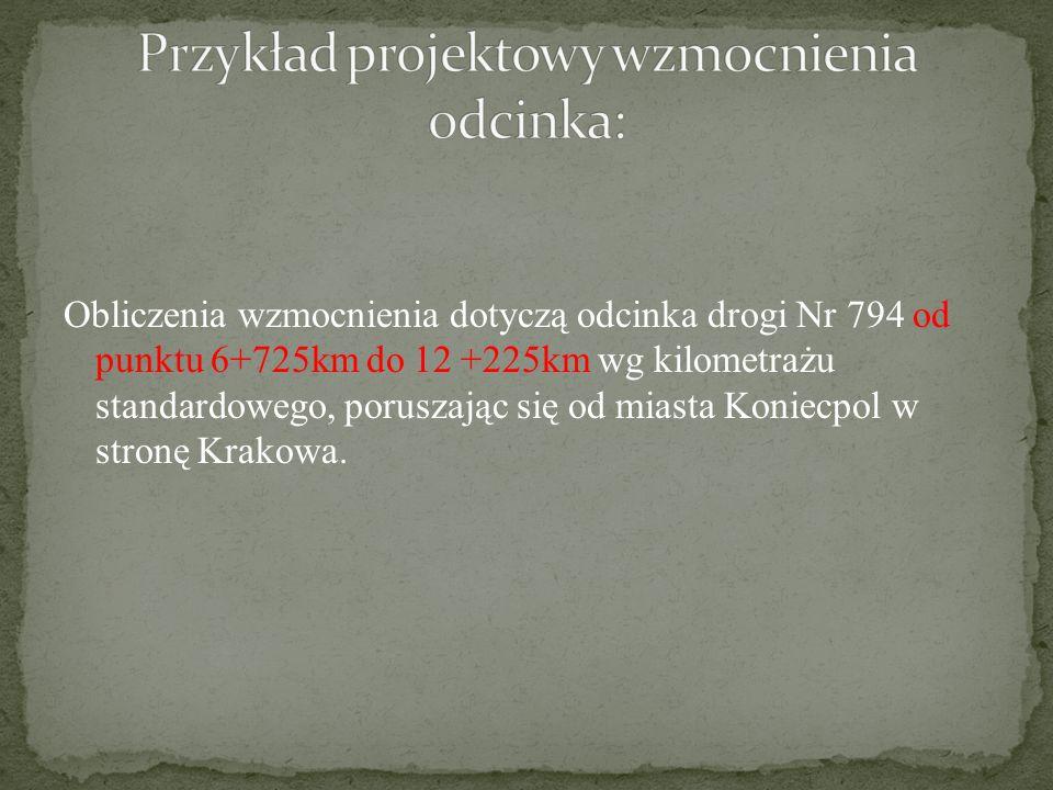 Obliczenia wzmocnienia dotyczą odcinka drogi Nr 794 od punktu 6+725km do 12 +225km wg kilometrażu standardowego, poruszając się od miasta Koniecpol w