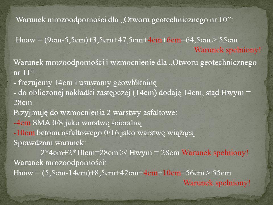 """Warunek mrozoodporności dla """"Otworu geotechnicznego nr 10"""": Hnaw = (9cm-5,5cm)+3,5cm+47,5cm+4cm+6cm=64,5cm > 55cm Warunek spełniony! Warunek mrozoodpo"""