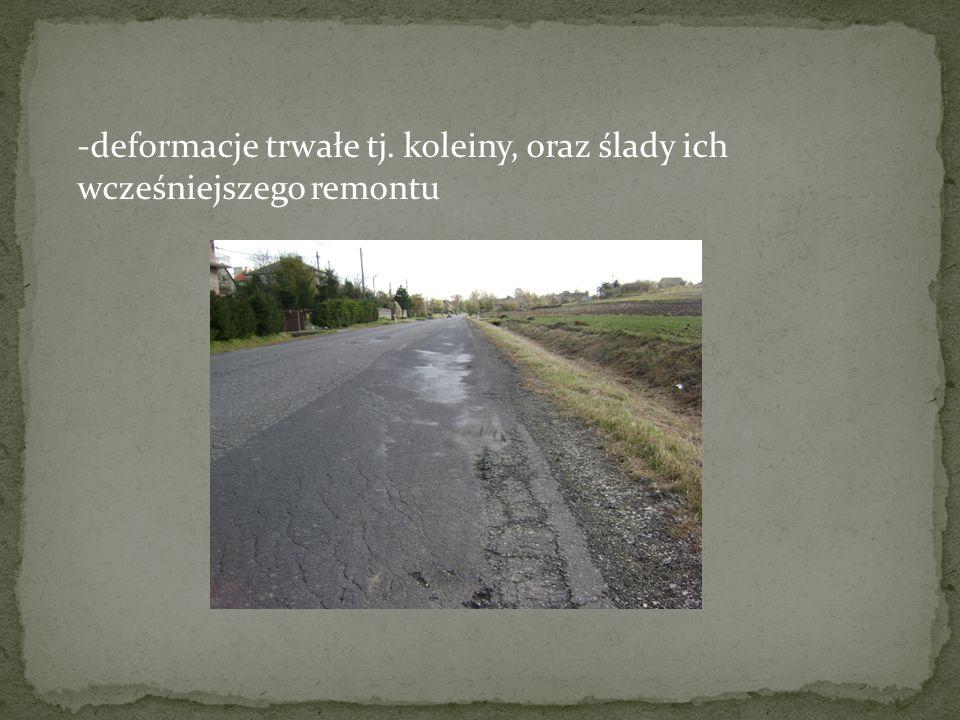 Ugięcia sprężyste zostały wykonane ugięciomierzem Benkelmana, osobno dla prawej i lewej strony jezdni, w odległości co 50m, w śladzie prawego koła.