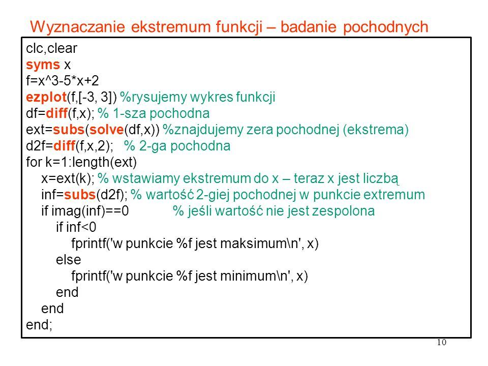 10 clc,clear syms x f=x^3-5*x+2 ezplot(f,[-3, 3]) %rysujemy wykres funkcji df=diff(f,x); % 1-sza pochodna ext=subs(solve(df,x)) %znajdujemy zera pocho