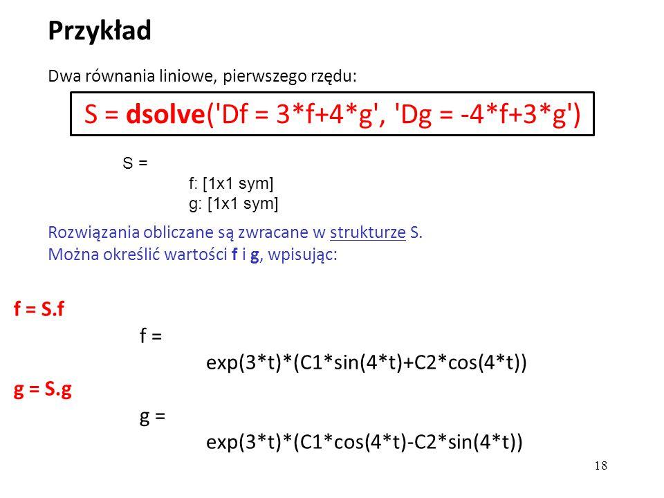 f = S.f f = exp(3*t)*(C1*sin(4*t)+C2*cos(4*t)) g = S.g g = exp(3*t)*(C1*cos(4*t)-C2*sin(4*t)) Przykład 18 S = f: [1x1 sym] g: [1x1 sym] Dwa równania l