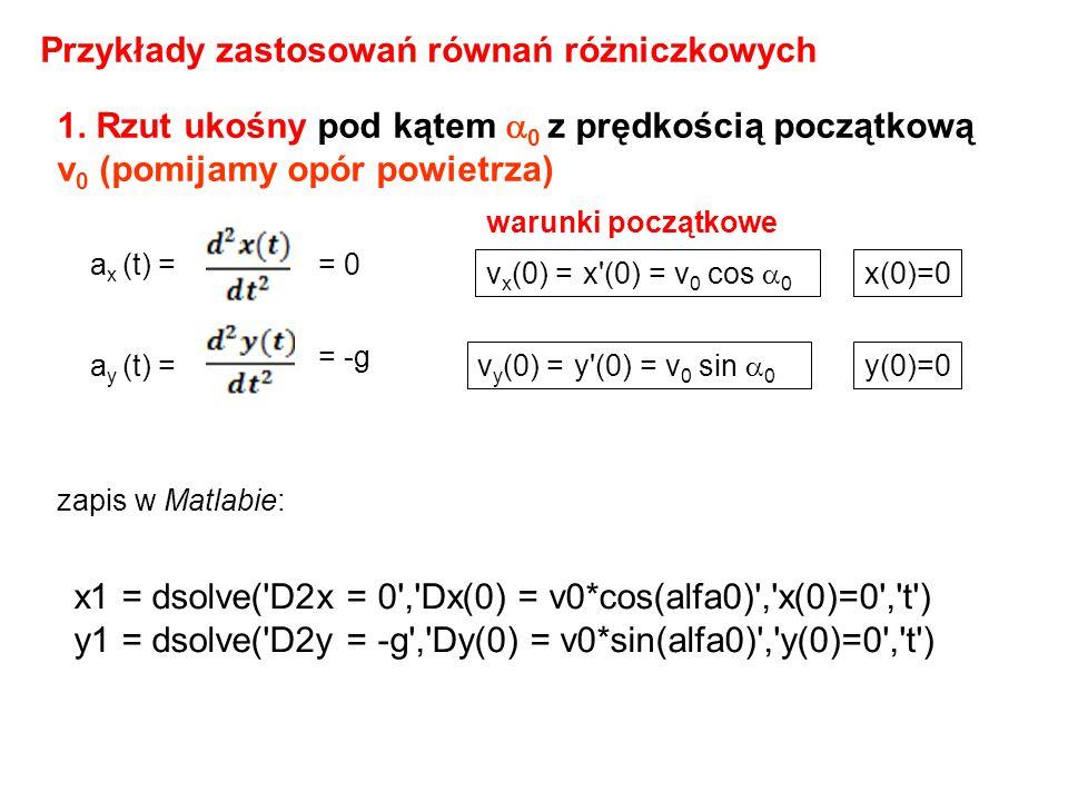 Przykłady zastosowań równań różniczkowych 1. Rzut ukośny pod kątem  0 z prędkością początkową v 0 (pomijamy opór powietrza) a x (t) == 0 a y (t) = =