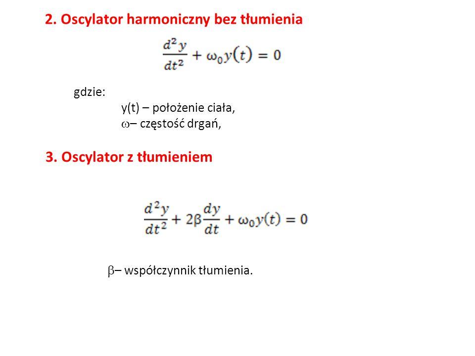 2. Oscylator harmoniczny bez tłumienia gdzie: y(t) – położenie ciała,  – częstość drgań, 3. Oscylator z tłumieniem  – współczynnik tłumienia.