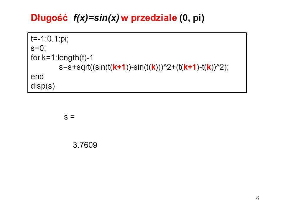 6 t=-1:0.1:pi; s=0; for k=1:length(t)-1 s=s+sqrt((sin(t(k+1))-sin(t(k)))^2+(t(k+1)-t(k))^2); end disp(s) Długość f(x)=sin(x) w przedziale (0, pi) s =