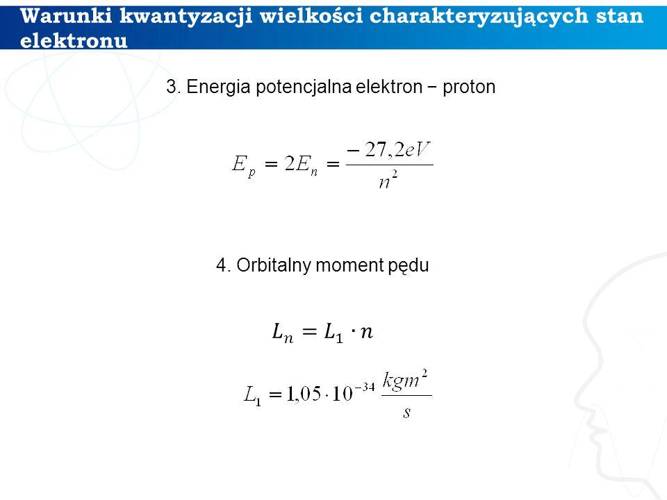 Warunki kwantyzacji wielkości charakteryzujących stan elektronu 12 3. Energia potencjalna elektron − proton 4. Orbitalny moment pędu
