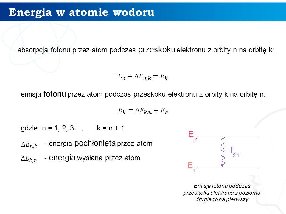 Energia w atomie wodoru 9 absorpcja fotonu przez atom podczas przeskoku elektronu z orbity n na orbitę k: emisja fotonu przez atom podczas przeskoku e