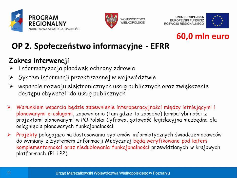 11 OP 2. Społeczeństwo informacyjne - EFRR Zakres interwencji  Informatyzacja placówek ochrony zdrowia  System informacji przestrzennej w województw