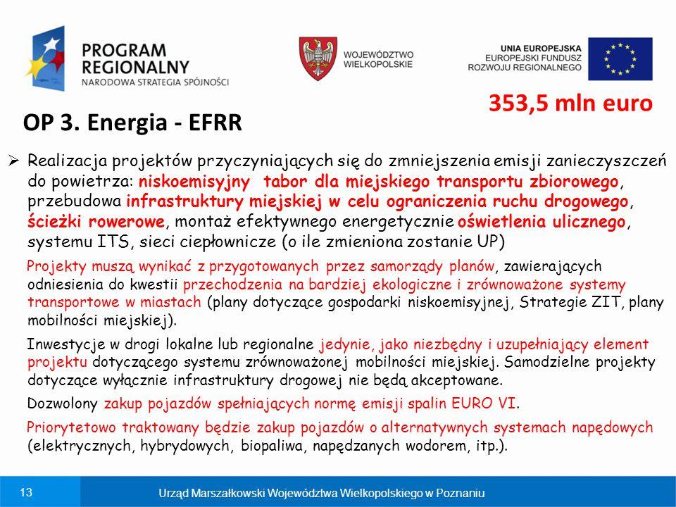 13 OP 3. Energia - EFRR  Realizacja projektów przyczyniających się do zmniejszenia emisji zanieczyszczeń do powietrza: niskoemisyjny tabor dla miejsk