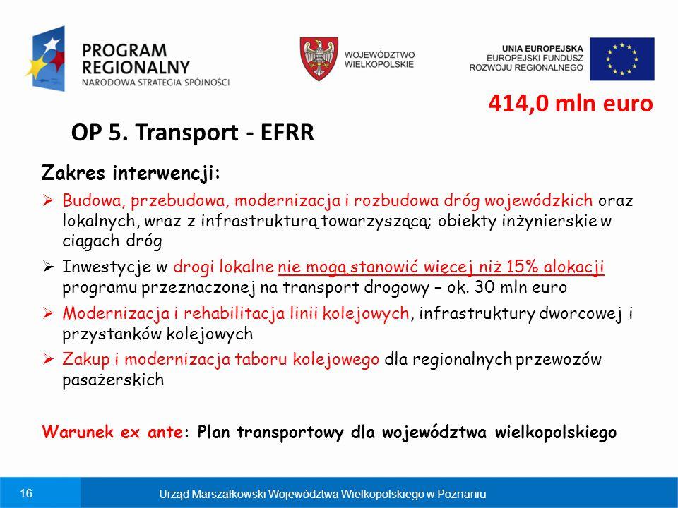 16 OP 5. Transport - EFRR Zakres interwencji:  Budowa, przebudowa, modernizacja i rozbudowa dróg wojewódzkich oraz lokalnych, wraz z infrastrukturą t