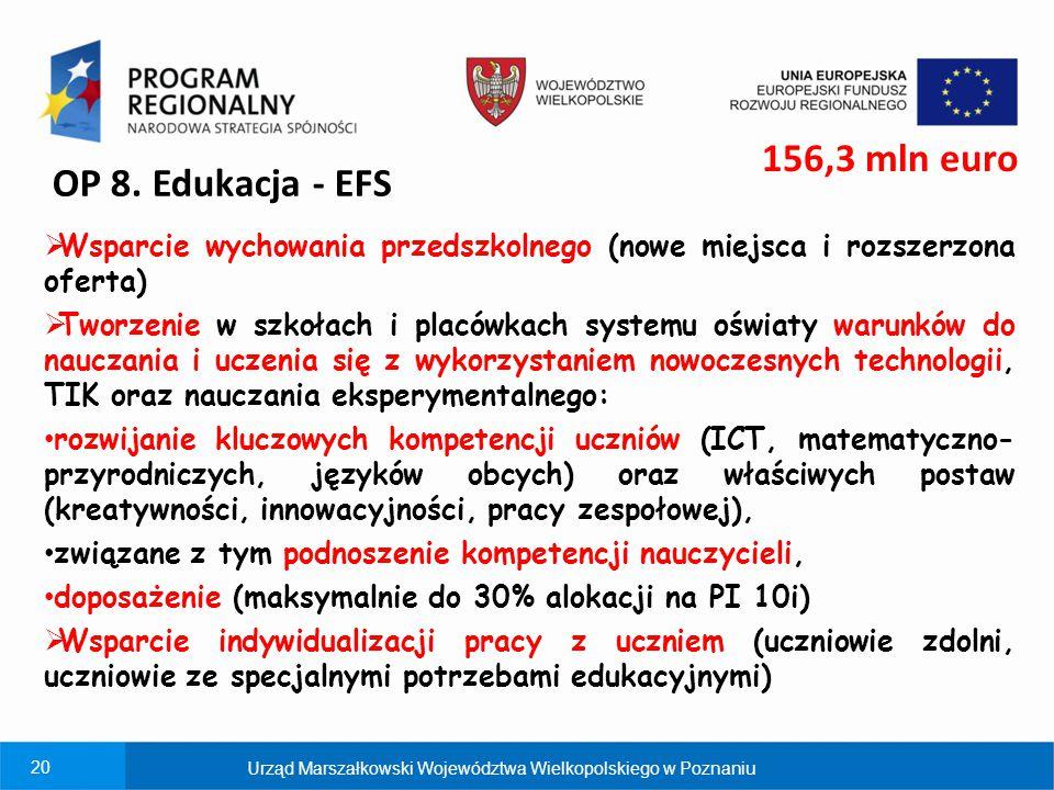 20 OP 8. Edukacja - EFS  Wsparcie wychowania przedszkolnego (nowe miejsca i rozszerzona oferta)  Tworzenie w szkołach i placówkach systemu oświaty w
