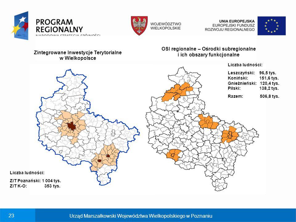 23 ko Zintegrowane Inwestycje Terytorialne w Wielkopolsce OSI regionalne – Ośrodki subregionalne i ich obszary funkcjonalne Liczba ludności: Leszczyńs