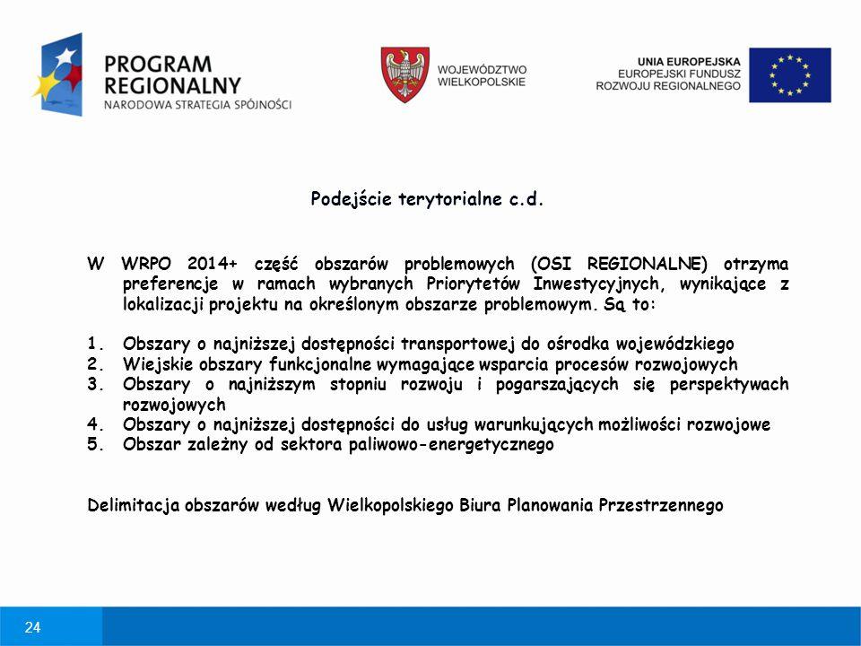 24 W WRPO 2014+ część obszarów problemowych (OSI REGIONALNE) otrzyma preferencje w ramach wybranych Priorytetów Inwestycyjnych, wynikające z lokalizac