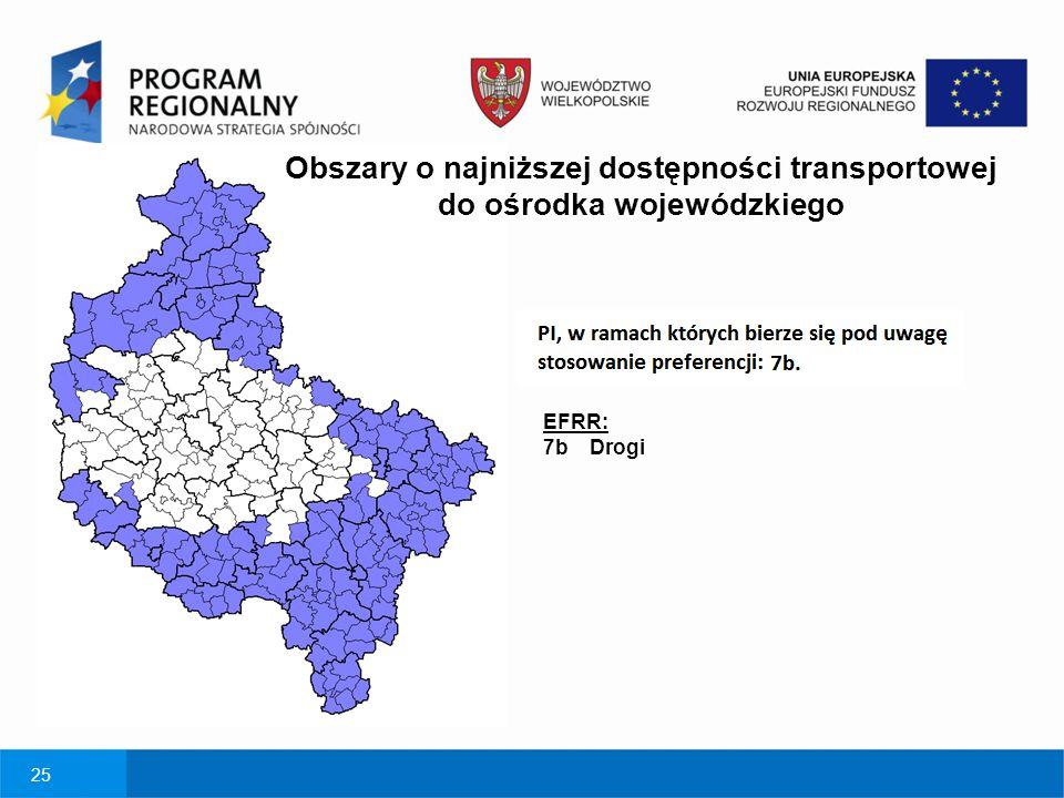 25 Obszary o najniższej dostępności transportowej do ośrodka wojewódzkiego EFRR: 7b Drogi