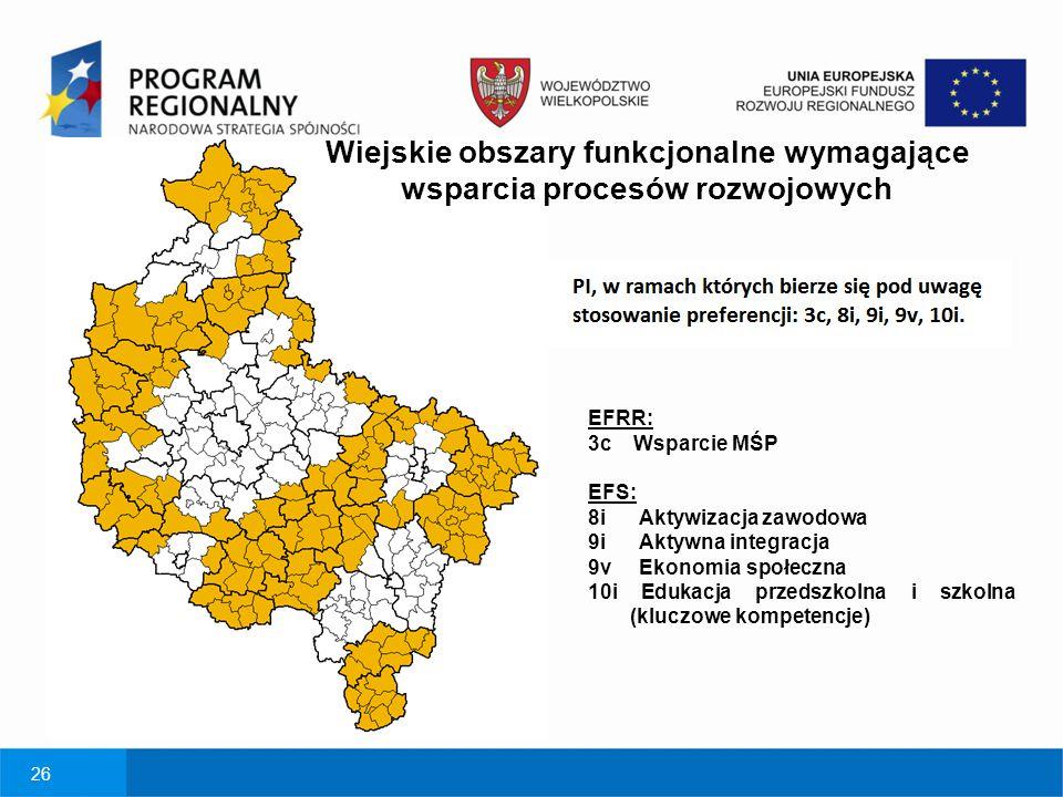 26 Wiejskie obszary funkcjonalne wymagające wsparcia procesów rozwojowych EFRR: 3c Wsparcie MŚP EFS: 8i Aktywizacja zawodowa 9i Aktywna integracja 9v