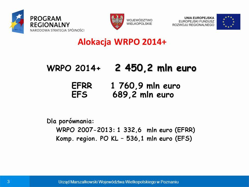4 Cel główny WRPO 2014+ POPRAWA KONKURENCYJNOŚCI I SPÓJNOŚCI WOJEWÓDZTWA 30 priorytetów inwestycyjnych (działań) 10 Osi Priorytetowych zawiera Urząd Marszałkowski Województwa Wielkopolskiego w Poznaniu