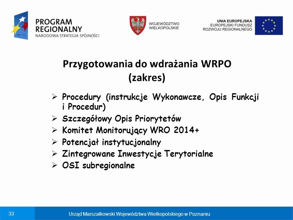 33 Przygotowania do wdrażania WRPO (zakres)  Procedury (instrukcje Wykonawcze, Opis Funkcji i Procedur)  Szczegółowy Opis Priorytetów  Komitet Moni